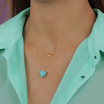 "Double strand necklace, gold infinity necklace, turquoise heart necklace, silver infinity necklace, eternity necklace, wedding, ""Hebe"