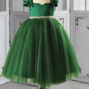 Black Green Tullr Organza Flower Girl Dresses,Short Sleeves Organza Girl's Pageant Dresses,Chilldren's Party Dresses