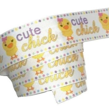 "Cute chick Easter print 1"" grosgrain ribbon"