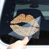 Leopard print Lips FREE SHIPPING cute window car decal bumper sticker sexy love pink 120