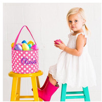 Pink Polka Dot Monogram Easter Basket- ships next business day