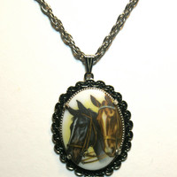 Double Horse Head Necklace Vintage Glass Cabochon Upcycled Pendant Silver Tone Chain