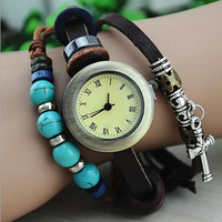 Vintage Style Leather Belt Watch with Turquoise Beads and Cross Pendant B035