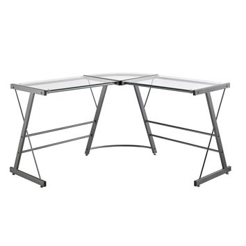 Metal Frame Glass Top L-Shape Desk - Laptop Computer Writing Table