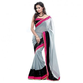 Pure Chiffon Sequins Work Grey & Black Plain Saree - 1007