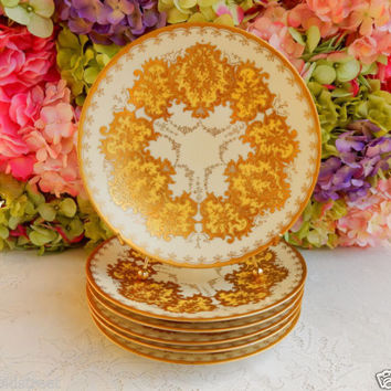 6 Gorgeous Vintage Limoges ~ Ovington Brothers Porcelain Plates ~ Gold Encrusted