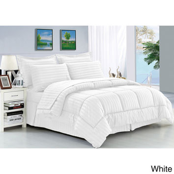 Cozy Home Down Alternative 5 Piece Embossed Comforter Set - White (King)