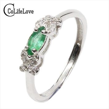 2017 Autumn fashion natural emerald ring 3 mm * 6 mm genuine emerald silver ring sterling silver emerald engagement ring