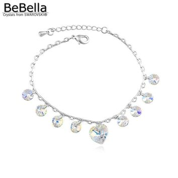 BeBella crystal heart charm box chain bracelet made with Austrian crystals from Swarovski for women gift wedding jewelry