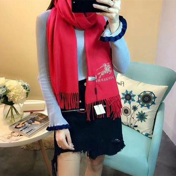NOV9O2 Luxury Burberry Keep Warm Scarf Embroidery Scarves Winter Wool Shawl Feel Silky And Delicate - Red