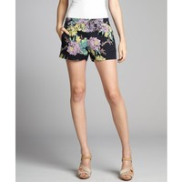 French Connection navy and lilac floral printed linen-cotton blend shorts | BLUEFLY up to 70 off designer brands