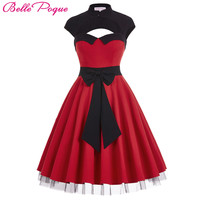 Womens summer dresses 2016 summer new styles Hollowed Large Bow-Knot Retro Vintage Party Pin up Swing Polka Dot Rockabilly Dress