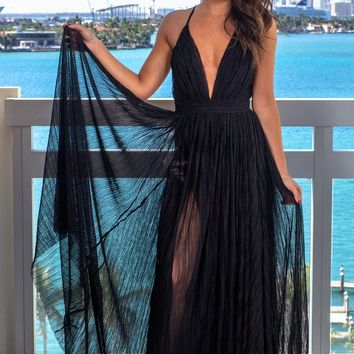 Black Pleated Maxi Dress with Criss Cross Back