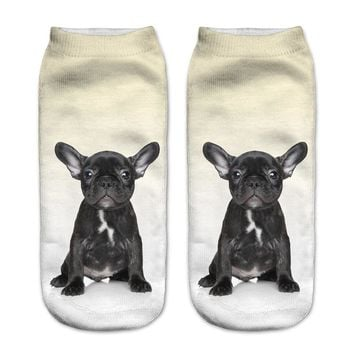 French Bulldog Animal Socks Funny Crazy Cool Novelty Cute Fun Funky Colorful - Low Cut Ankle Socks Funny Crazy Cool Novelty Cute Fun Funky