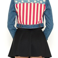 Salute your country awesome semi-cropped style denim jacket with American Flag print shows off all your inner passion for your country with it's American flag print denim cropped jacket, button up front, two bust pockets. While one girl is representing the
