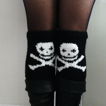 Black Knitted Boot Cuffs women's accessories skull desing winter skeleton knit