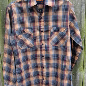 Mens Plaid Shirt vintage 70s THUMBS UP Rockabilly Western Brown Blue Red S