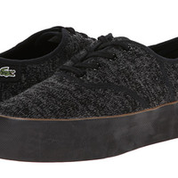 Lacoste Black/Grey Knit Textile Platform Sneakers