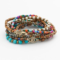 Mudd Gold Tone Simulated Crystal Evil Eye & Hamsa Link Bead Stretch Bracelet Set (Grey)