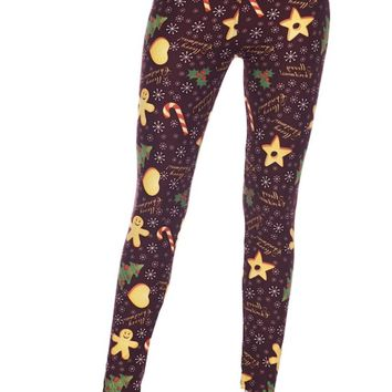 Merry Christmas Gingerbread Man Snowflakes Buttery Soft Leggings