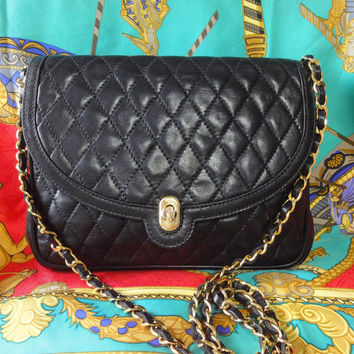 Vintage BALLY black lambskin classic 2.55 style chain shoulder bag, clutch purse with gold tone logo closure. For vintage CHANEL lover too.