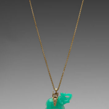 Kenneth Jay Lane Gold Chain and Elephant Necklace in Jade from REVOLVEclothing.com