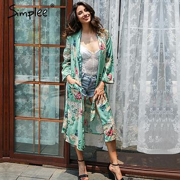 Simplee Floral print blouse shirt  long kimono Women sashes pocket  kimono cardigan Elegent long sleeve summer blouse blusas
