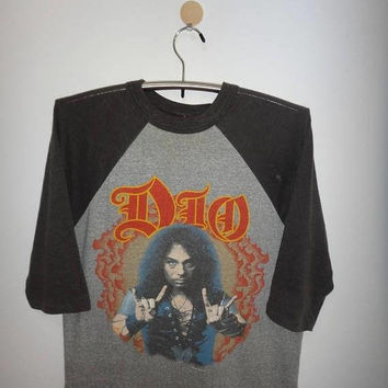 SALE Christmas Xmas Vintage Dio 1985 50/50 Baseball Jersey Signal T shirt Heavy Metal Promo Not Tour