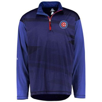 Men's Chicago Cubs Majestic Royal/Red Big & Tall Cool Base Quarter-Zip Sweatshirt