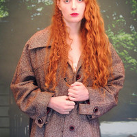 Warm retro tweed coat / vintage earthy rustic nicely tailored brown large speckled wool trench / romantic boho