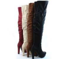 Qupid Women's Qupid Sexy Platform Over The Knee Thigh High Chunky Heel Boots Lady Shoes, Garnet Pu, 8