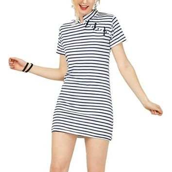 [15623] Mandarin Collar Short Sleeve Striped Dress