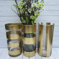 Flower Vase, Gold Vase, Stripe Vase, Wedding Decor, Baby Shower Decor, Home Decor, Office Decor