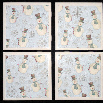 Coasters- Tile Coasters- Drink Coasters- Holiday Coasters- Winter Wonderland Printed Tile Coasters- Set of 4