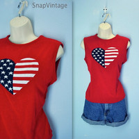 Vintage July 4th Sweater / Sleeveless Red Flag Heart Top / Summer Blouse