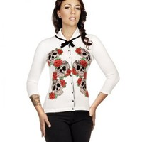Folter Womens White Sugar Skull & Roses Cardigan Sweater (L)