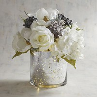 LED Pre-Lit White & Silver Faux Floral Arrangement