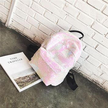 School Backpack Ladies PU glitter leather sequins casual backpacks women's fashion lovely travel girls high quality school bags AT_48_3