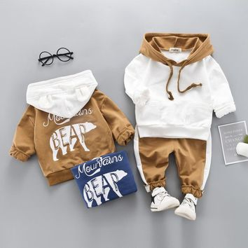 0-4 years High quality boy girl clothing set 2019 new spring sport active solid kid suit children baby clothing Hoodies+pant