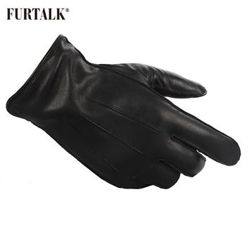FURTALK Fashion Men Winter Real Lamb Leather Gloves Fashion  with Warm Cashmere Lining Tactical Gloves