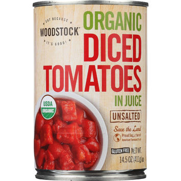 Woodstock Tomatoes - Organic - Diced - Unsalted - 14.5 Oz - Case Of 12
