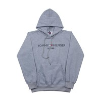 TOMMY HILFIGER 2018 autumn trend men and women models head embroidery letters hooded sweater Grey