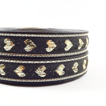 Black Metallic Gold Heart Woven Embroidered Jacquard Trim Ribbon - 5 Meters or 16 feet 427⁄32 inches or 5yd 1.4042ft
