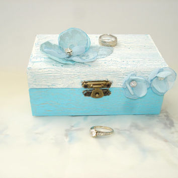 Ice Blue Ring Pillow Alternative, Winter Wedding  Ring Bearer Box, Engagement  Ring  Box , Crystal, Lace, Flower  Wedding  Ring Holder