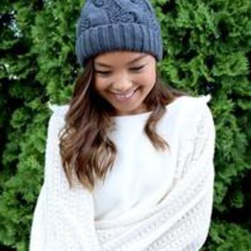 Grey Cable Knit Beanie with Faux Fur Pom Pom