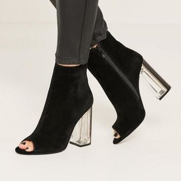 Missguided - Black Peep Toe Transparent Faux Suede Heeled Boots