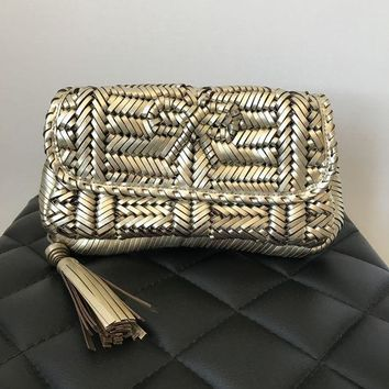 ICIKG2C Anya Hindmarch Gold Woven Leather Rossum Clutch