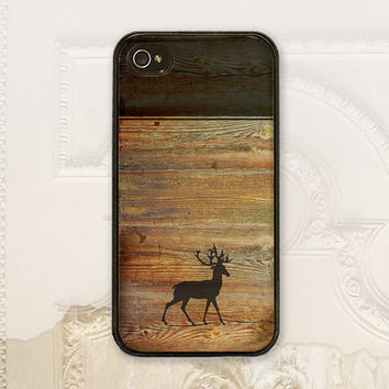 Deer cell phone case iPhone 4 4S 5 5s 5c iPhone 6 tough case Samsung Galaxy s3 s4 s5 Guy gift for him, Man Gift Color block wood, M6090