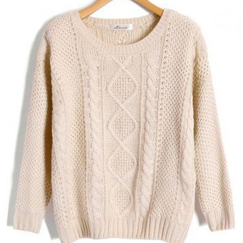 Beige Cable and Diamond Knit Sweaters