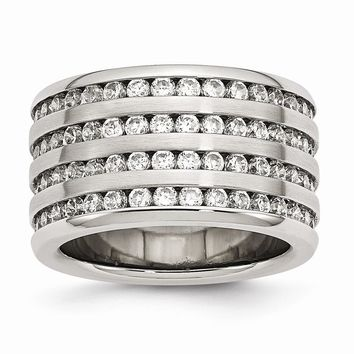 Stainless Steel Multirow 13mm CZ Ring